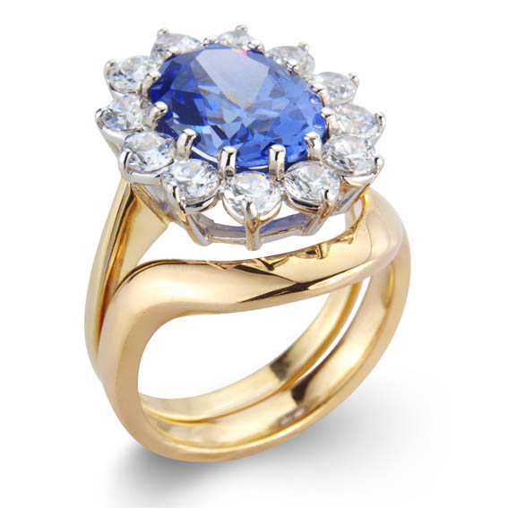 An exclusive shaped ring to complement your engagement ring.